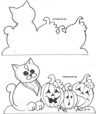 Halloween cat and pumpkins saw patternPicture