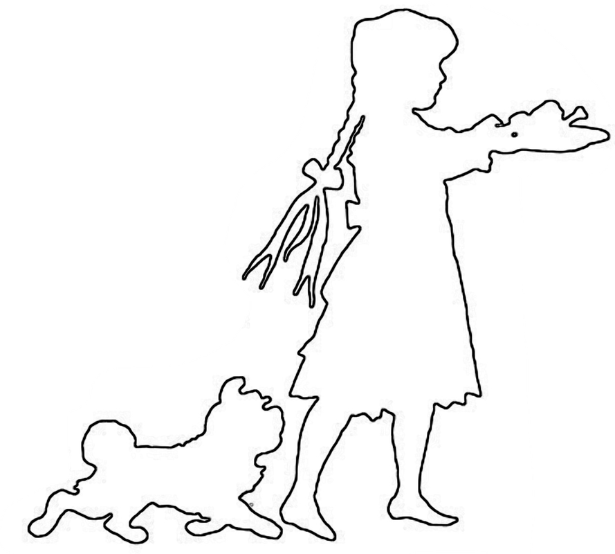 Girl and dog outline pattern