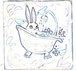 Bunny rabbit in tub craft pattern