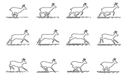 12 different positions of Rudolph the red nosed reindeer craft outline pattern