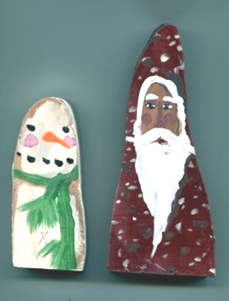Hand painted snowman and Santa Claus