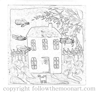 Haunted house painting outline