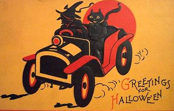 Witch & cat Halloween clip art