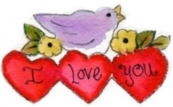 I Love Bird Valentine pattern
