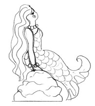 mermaid paintng outline