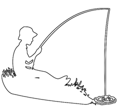 Boy fishing outline craft pattern