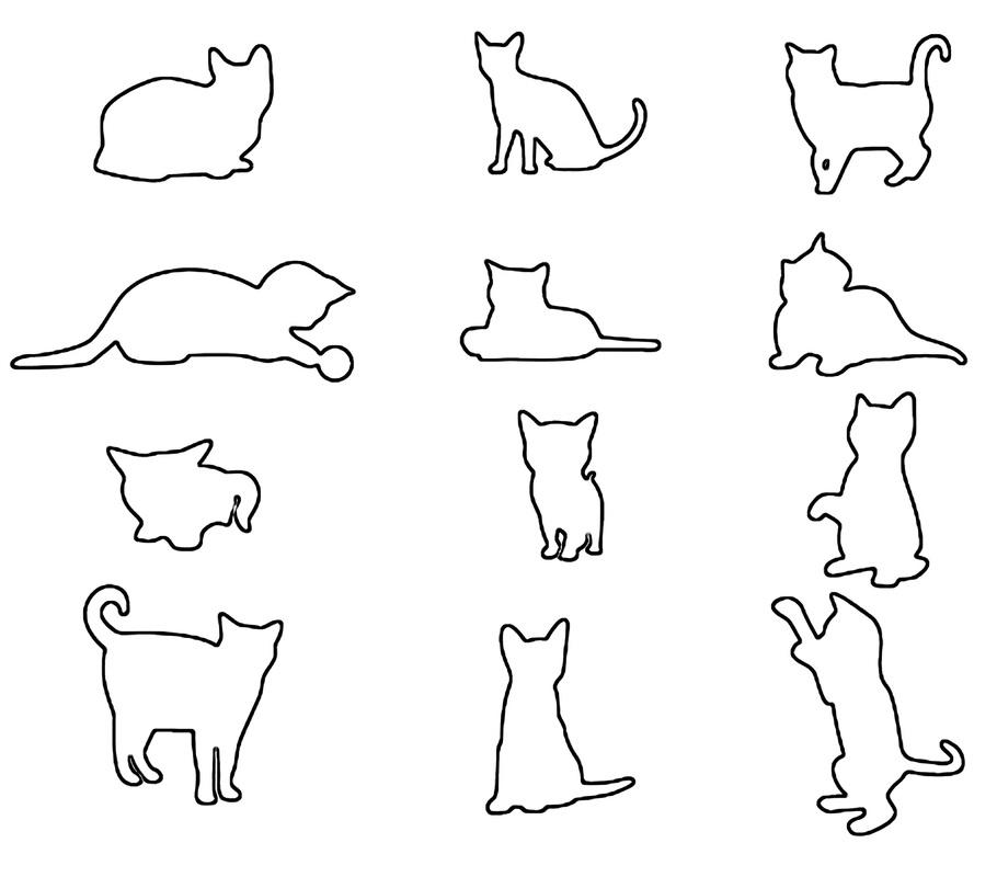 Cat shapes craft patterns set of 12