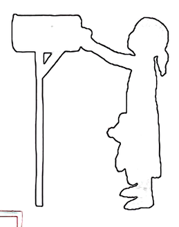 Child putting mail in box outline