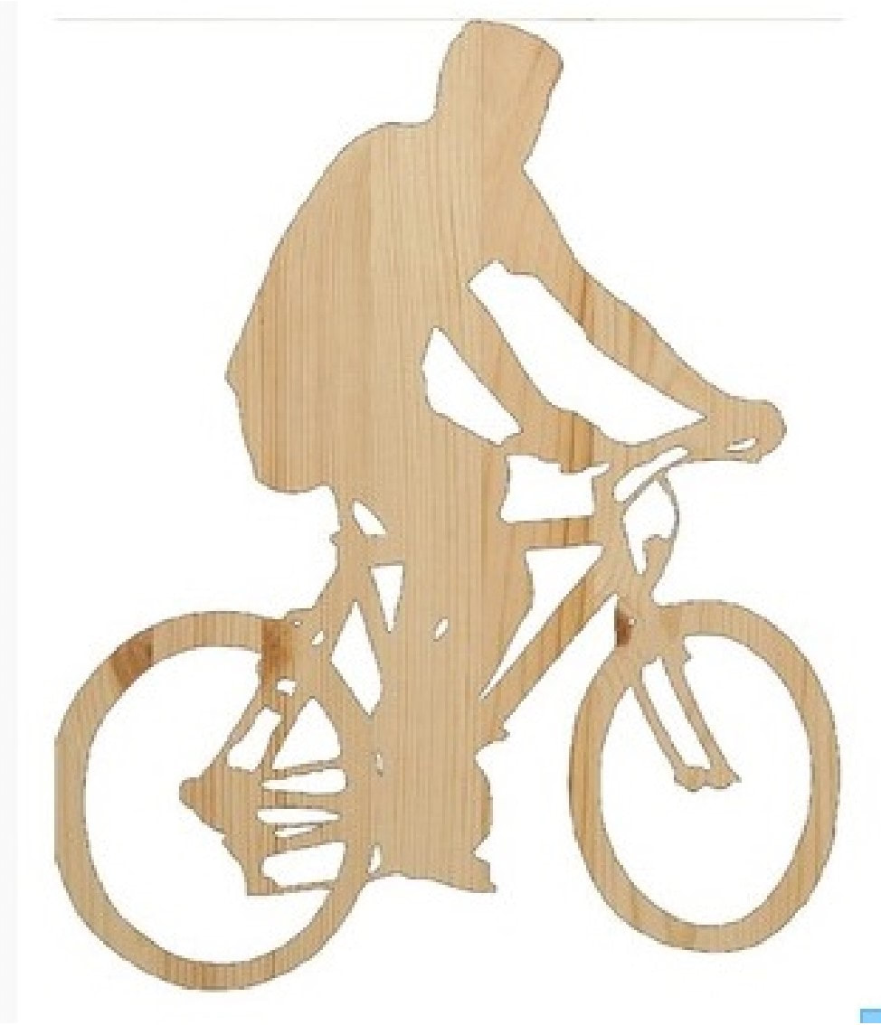 bike riding wood cutout