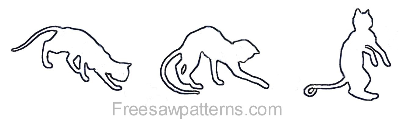 Cat poses cat outline pattern
