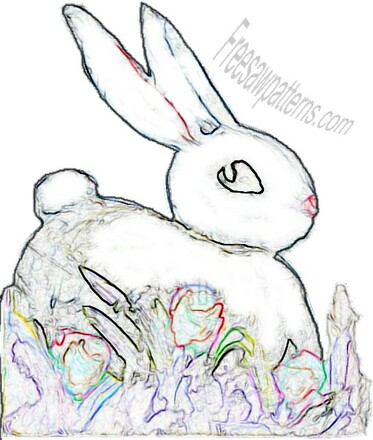 Bunny rabbit craft pattern outline