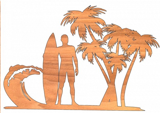 wood cut image of palm trees & surfer