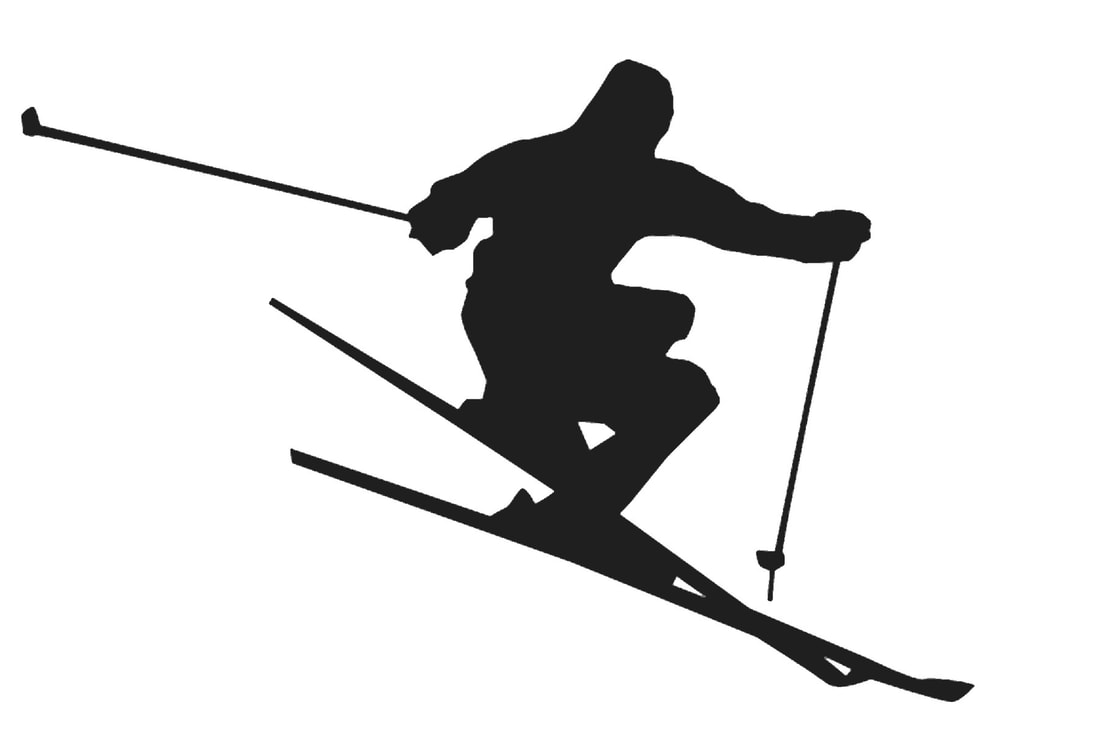silhouette of skier