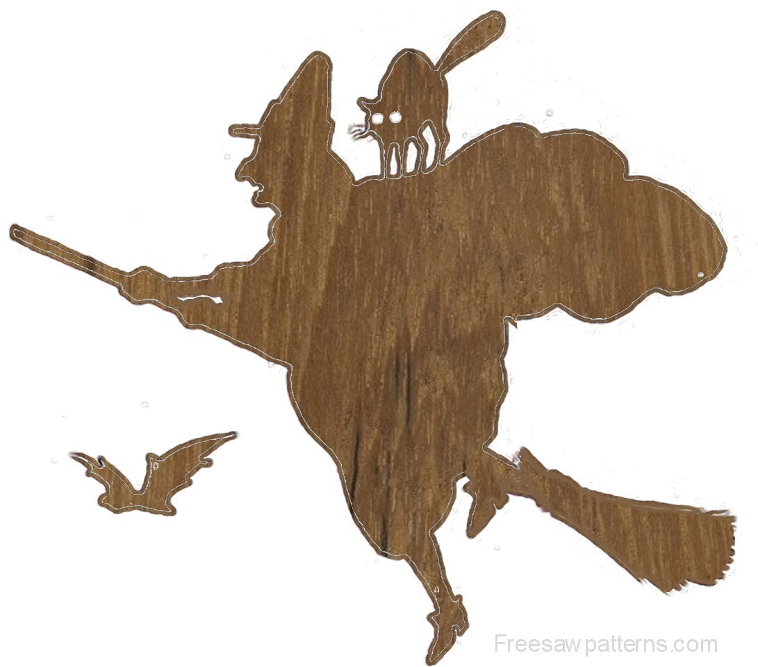 wood cutout - flying witch